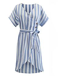 billige -kvinner over kneet løs skjorte kjole v nakke blå s m l xl