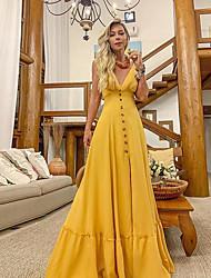 preiswerte -Frauen Maxi Etuikleid tief V Gurt gelb S M L XL