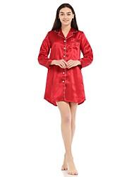 cheap -Women's Satin & Silk Nightwear - Split Solid Colored