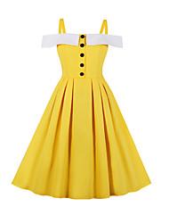 お買い得  -女性用 ヴィンテージ Aライン ドレス - パッチワーク, カラーブロック 膝上