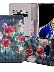billige -Etui Til Samsung Galaxy Note 9 Pung / Kortholder / Med stativ Fuldt etui Blomst Hårdt PU Læder for Note 9
