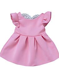 levne -Dítě Dívčí Aktivní / Základní Jednobarevné / Patchwork Krajka Krátký rukáv Bavlna Šaty Světlá růžová