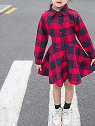 abordables -Enfants Fille Actif / Doux Noir & rouge Bloc de Couleur / Damier Cordon Manches Longues Au dessus du genou Coton Robe Rouge