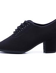 billige -Dame Jazz-sko Kanvas Oxford Tykke Hæl Dansesko Sort