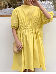 halpa -naisten edellä polven löysä tunika mekko puuvilla valkoinen keltainen yksi koko