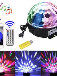 Недорогие -1 компл. Светодиодные сценические огни управления звуком bluetooth музыка mp3 красочные волшебный шар вращающийся свет бар DJ свет
