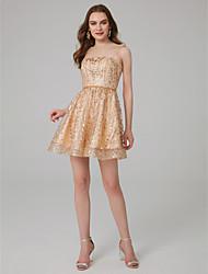 Χαμηλού Κόστους -Γραμμή Α Ώμοι Έξω Μέχρι το γόνατο Τούλι Φανταχτερό Επίσημο Βραδινό Φόρεμα με Πούλιες / Κρυστάλλινη λεπτομέρεια με TS Couture®