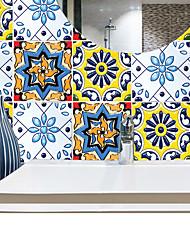 お買い得  -ファッション色花パターンPVC防水自己接着壁ステッカー - 平面壁ステッカー交通機関/風景研究室/オフィス/ダイニングルーム/キッチン