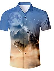 Недорогие -Муж. Рубашка Животное Синий L / С короткими рукавами