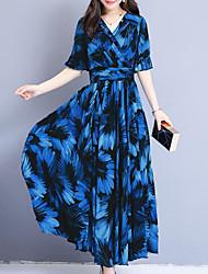 Недорогие -Жен. Уличный стиль Изысканный Прямое С летящей юбкой Платье - Цветочный принт В клетку Макси