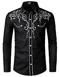 Недорогие -Муж. Вышивка Размер ЕС / США - Рубашка Классический воротник Однотонный Черный