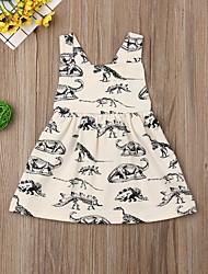 abordables -bébé Fille Actif / Basique Imprimé Imprimé Sans Manches Coton Robe Beige / Bébé