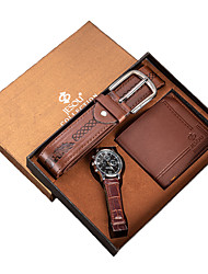 Недорогие -Муж. Нарядные часы Кварцевый Подарочный набор Кожа Коричневый 30 m Секундомер Светящийся Новый дизайн Аналоговый Классика На каждый день - Коричневый Два года Срок службы батареи / Крупный циферблат