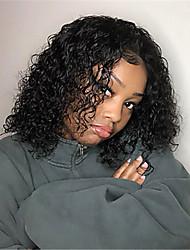 abordables -Peluca Pelo Natural Encaje Frontal Cabello Brasileño Ondulado Medio Natural Partida profunda Mujer Densidad 130% Fácil vestidor Cómodo Talla mediana Negro Natural Pelucas de Cabello Natural yingcai