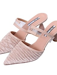 ราคาถูก -สำหรับผู้หญิง หนัง ฤดูร้อน ไม่เป็นทางการ รองเท้าไม้ & รองเท้าหัวทู่ ส้นหนา Pointed Toe สีดำ / Almond