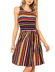 preiswerte -Damen Grundlegend Street Schick A-Linie Hülle Kleid - Druck, Gestreift Einfarbig Übers Knie