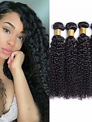 billige -4 pakker Brasiliansk hår Kinky Curly Ubehandlet Menneskehår Menneskehår, Bølget Bundle Hair Hårforlængelse af menneskehår 8-28 inch Naturlig Farve Menneskehår Vævninger Lugtfri Valentins Blød