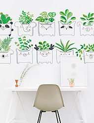 abordables -Stickers muraux amovibles en pvc de dessin animé frais de plantes en pot mignons - salle de bureau / bureau / salle à manger / cuisine