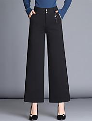 levne -Dámské Základní Široké nohavice Kalhoty - Jednobarevné Černá