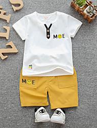 abordables -bébé Fille Basique / Chic de Rue Imprimé Imprimé Manches Courtes Normal Normal Coton Ensemble de Vêtements Blanc