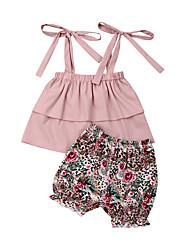 abordables -bébé Fille Actif / Bohème Fleur Lacet Sans Manches Normal Coton Ensemble de Vêtements Rose Claire / Bébé