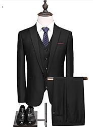 abordables -Couleur Pleine Coupe Sur-Mesure Polyster Costume - Cranté Droit 1 bouton / Droit 2 boutons