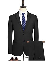 preiswerte -Schwarz / Marineblau Solide Schlanke Passform Polyester Anzug - Fallendes Revers Einreiher - 2 Knöpfe