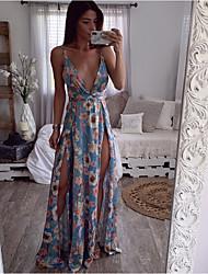 7141bf614d olcso Maxi ruhák-női maxi vékony swing ruha v nyak világoskék fehér sárga s  m l xl