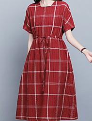 hesapli -Kadın diz boyu gevşek kayma elbise u boyun pamuk kırmızı siyah m l xl