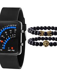 Недорогие -Муж. Спортивные часы Цифровой Подарочный набор силиконовый Черный / Белый Нет Секундомер Очаровательный Творчество Цифровой Блестящие Новое поступление - Белый Черный Один год Срок службы батареи