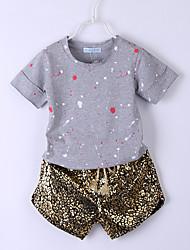 billige -Børn / Baby Pige Basale / Gade Prikker Trykt mønster Kortærmet Normal Normal Bomuld / Spandex Tøjsæt Guld