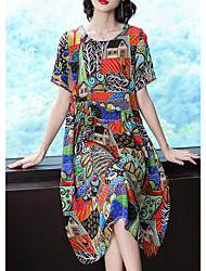 cheap -Women's Sophisticated Elegant Swing Dress - Geometric Print Rainbow XL XXL XXXL