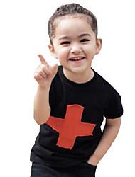 abordables -Bebé Chico Básico Un Color / Geométrico / Estampado Cruzado Manga Corta Algodón / Poliéster Camiseta Negro