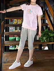 abordables -Enfants Fille Actif / Basique Rayé / Bande dessinée Imprimé Manches Courtes Normal Normal Coton / Spandex Ensemble de Vêtements Rose Claire