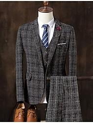 billige -Grå / Lysegrå / Kakifarget Stripet Skreddersydd Bomull / Polyester Dress - Med hakk Enkelt Brystet Enn-knapp