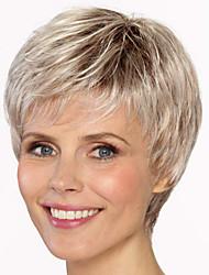 Недорогие -Парики из искусственных волос Чёлки Прямой Стиль Свободная часть Без шапочки-основы Парик Блондинка Светло-золотой Искусственные волосы 12 дюймовый Жен. Модный дизайн Женский синтетический Блондинка