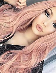 저렴한 -인조 합성 가발 곱슬한 / 바디 웨이브 스타일 밥 헤어컷 캡 없음 가발 핑크 핑크 인조 합성 헤어 24 인치 여성용 합성의 / 자연 헤어 라인 / 중간 부분 핑크 가발 긴 HAIR CUBE 코스플레이 가발 / 흑인 가발