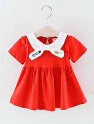 abordables -bébé Garçon Actif / Basique Mosaïque Mosaïque / Brodée Manches Courtes Mi-long Coton Robe Rouge