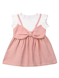 abordables -bébé Fille Actif / Basique Mosaïque Noeud Manches Courtes Coton Robe Rouge