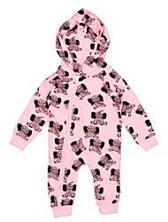 abordables -Bebé Chica Activo / Básico Geométrico / Estampado Estampado Manga Larga Algodón / Poliéster Una Pieza Rosa