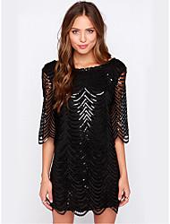 זול -עד הברך פאייטים, אחיד - שמלה ישרה שחורה וקטנה מתוחכם אלגנטית בגדי ריקוד נשים