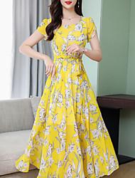 preiswerte -Frauen plus Größenmaxischaukel-Chiffon- Kleidchiffon- weißes gelbes Grün m L xl xxl