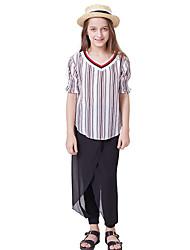 abordables -Enfants Fille Actif / Basique Rayé Cordon Manches Courtes Normal Polyester Ensemble de Vêtements Blanc