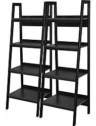 Недорогие -набор из 2 - черные 4-х полочные книжные шкафы в современном стиле
