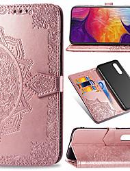 Недорогие -Кейс для Назначение SSamsung Galaxy Galaxy A7(2018) / Galaxy A9 (2018) / Galaxy A10 (2019) Кошелек / Бумажник для карт / Флип Чехол Цветы Твердый Кожа PU / ТПУ