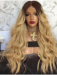 billige -Blondeparykker af menneskehår Kinky Glat Stil Mellemdel Lågløs Paryk Mørkebrun Mørkebrun / Guldblonde Syntetisk hår 26 inch Dame Dame Mørkebrun Paryk Lang Naturlig paryk
