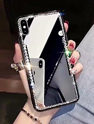 Недорогие -Кейс для Назначение Apple iPhone XS / iPhone XR / iPhone XS Max Стразы / Зеркальная поверхность Кейс на заднюю панель Сияние и блеск Твердый Акрил