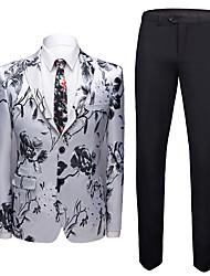 halpa -Tuxedos Normaali istuvuus Lovikäänne Yksirivinen kaksi nappia Polyesteri / Villasekoite / Polyster Kukat / Kasvit