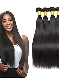 billige -4 pakker malaysisk hår Lige Ubehandlet Menneskehår 100% Remy Hair Weave Bundles Hovedstykke Bundle Hair Hårforlængelse af menneskehår 8-28 inch Naturlig Menneskehår Vævninger Sikkerhed Valentins Dame