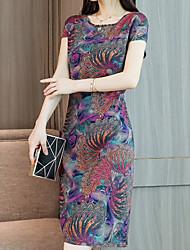 Χαμηλού Κόστους -Γυναικεία Κινεζικό στυλ Κομψό Θήκη Φόρεμα - Φλοράλ, Στάμπα Πάνω από το Γόνατο